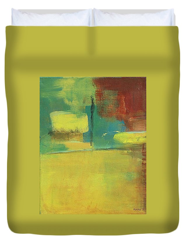 Abstract Art Duvet Cover featuring the painting Play by Kathy Sheeran