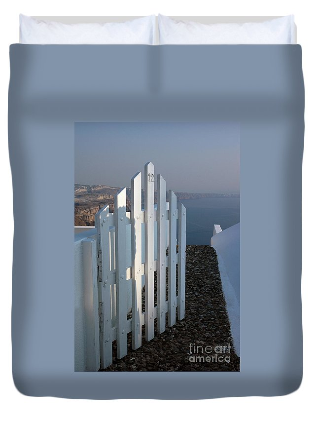 Gate Duvet Cover featuring the photograph Please Come In by Vivian Christopher