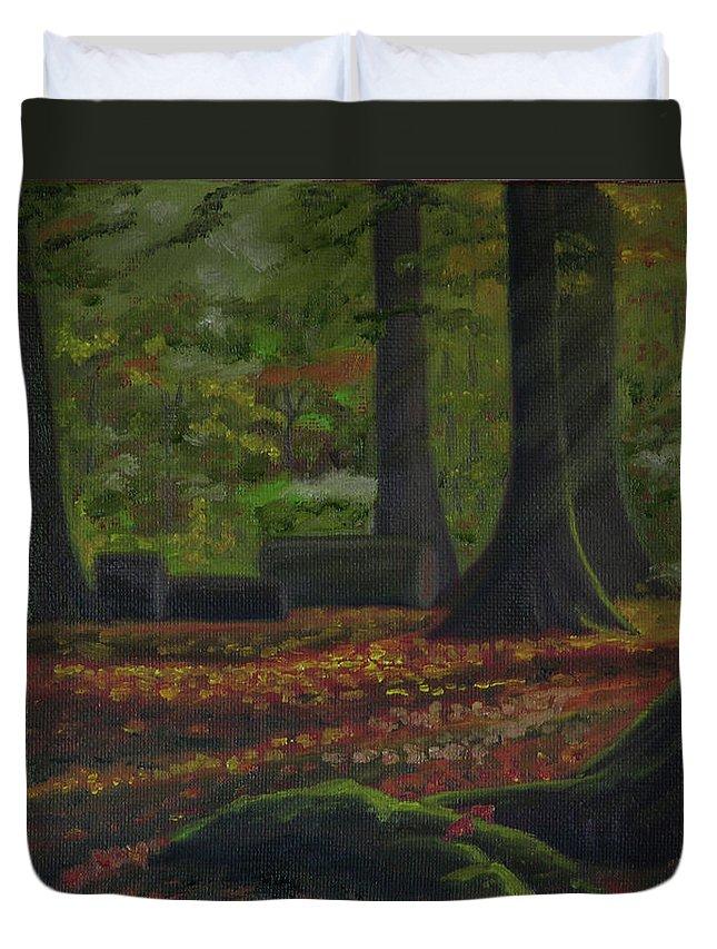Plein Air Duvet Cover featuring the painting Plein Air 101 by Thu Nguyen