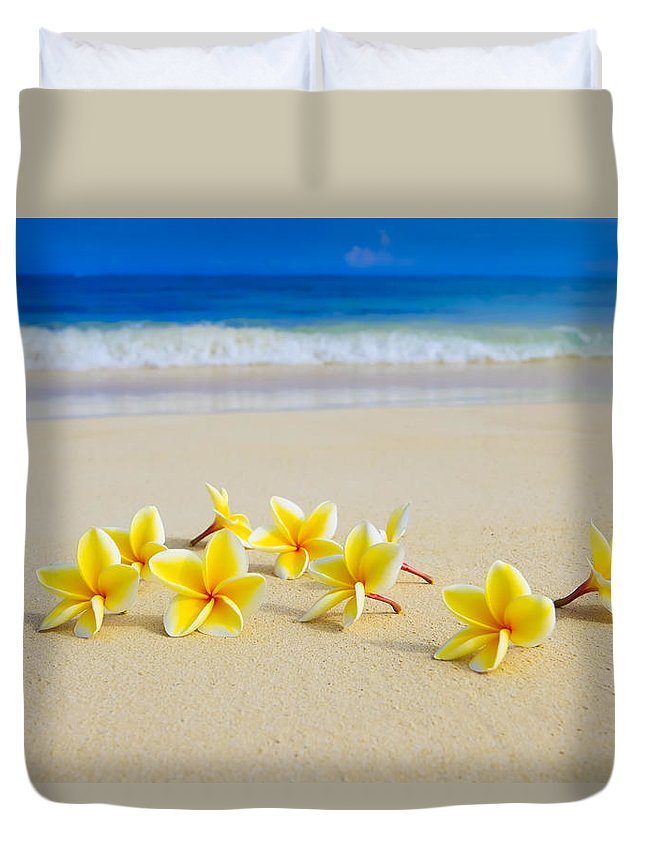 Background Duvet Cover featuring the photograph Plumerias On Beach II by Tomas del Amo
