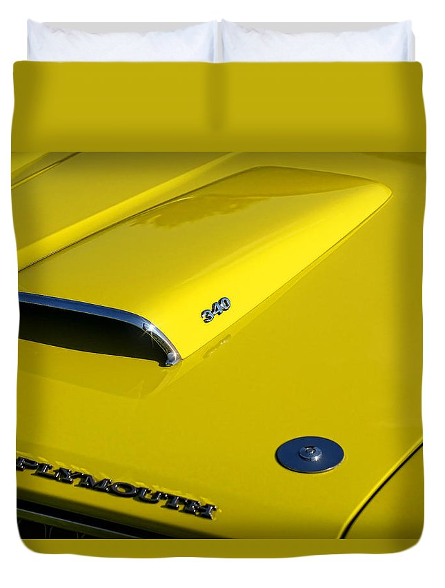 Plymouth Duvet Cover featuring the photograph Plymouth Duster 340 Hood Scoop by Gordon Dean II