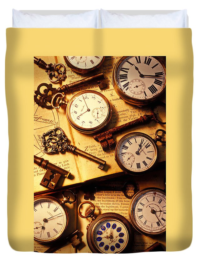 Old Duvet Cover featuring the photograph Pocket Watches And Old Keys by Garry Gay