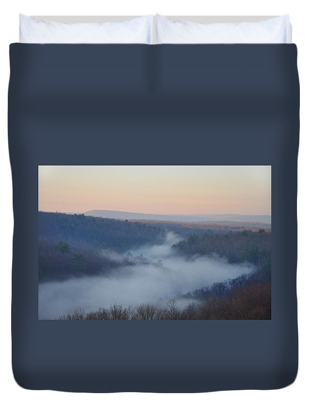 Misty Duvet Cover featuring the photograph Pocono Mist by Bill Cannon