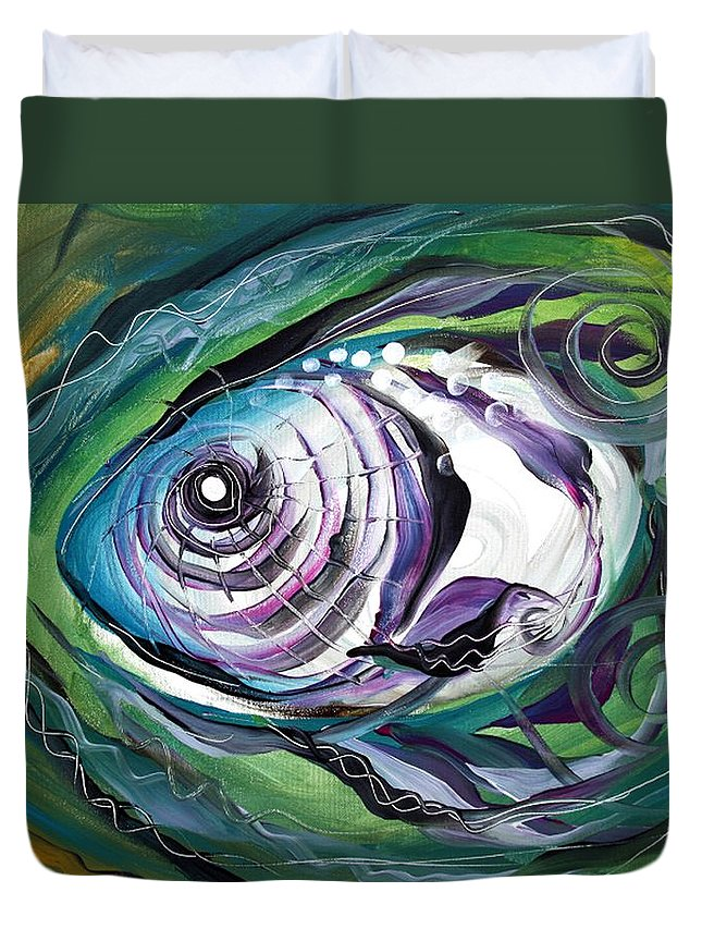 Fish Duvet Cover featuring the painting Poetic Chaos by J Vincent Scarpace