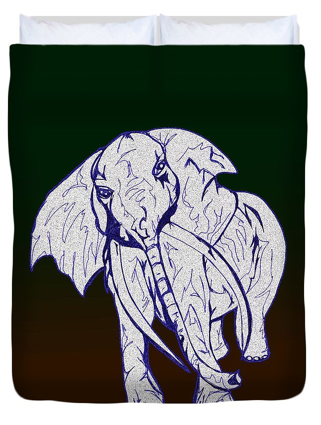 Abstract Duvet Cover featuring the drawing Pointillism Elephant by Mary Mikawoz