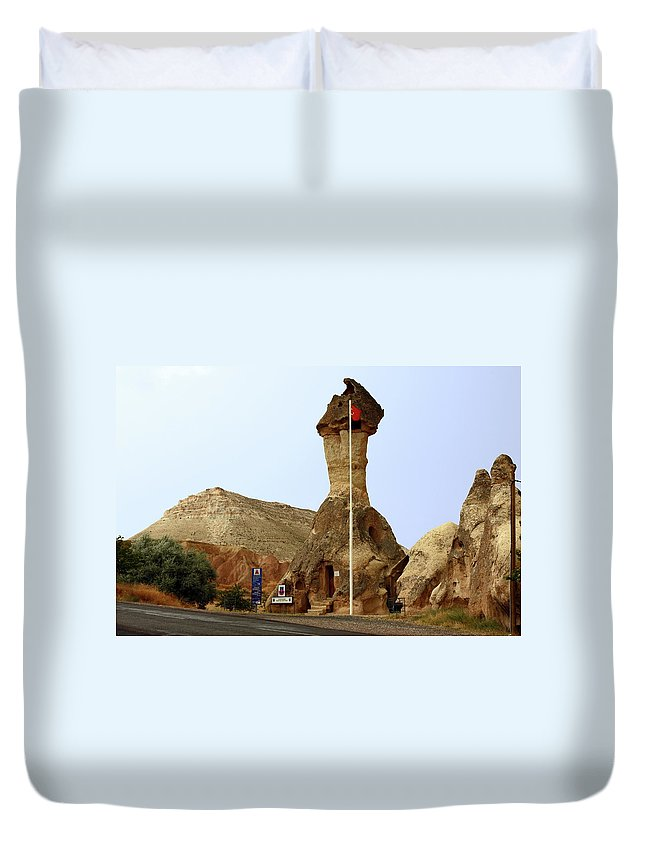 Police Station In Tufa Rock Formation Duvet Cover featuring the photograph Police Station In Tufa Rock by Sally Weigand