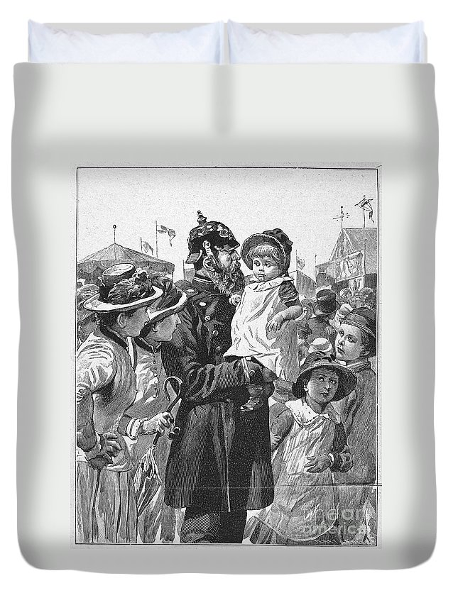 1885 Duvet Cover featuring the photograph Policeman, 1885 by Granger