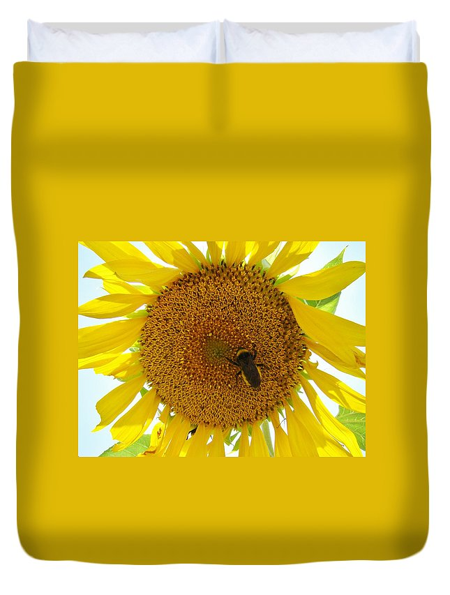 Bee Duvet Cover featuring the photograph Pollen Hunter by Michael MacGregor