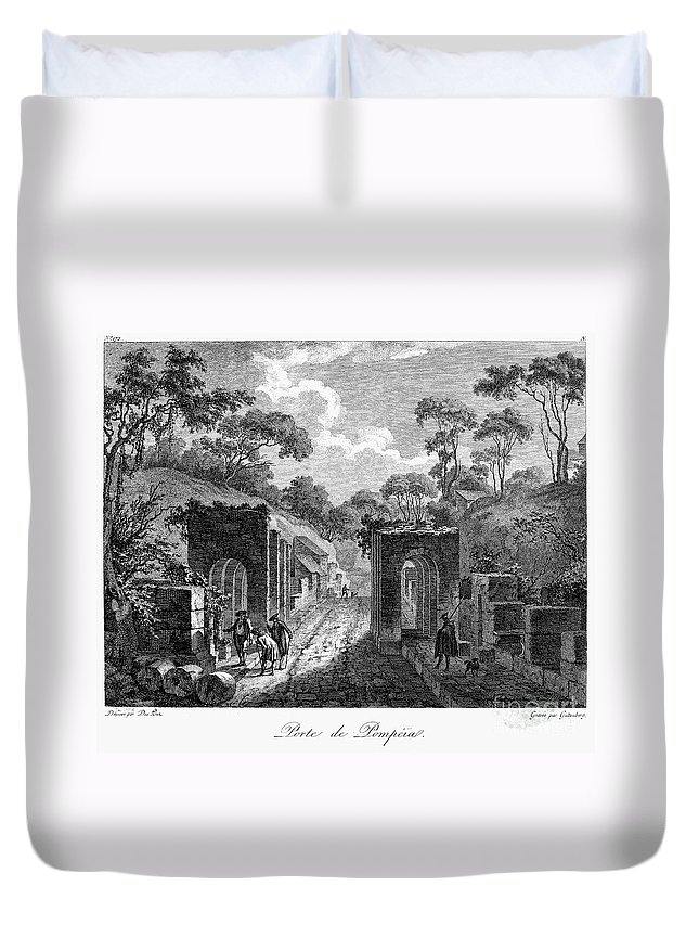 18th Century Duvet Cover featuring the photograph Pompeii: Herculaneum Gate by Granger