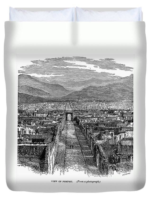 1880 Duvet Cover featuring the photograph Pompeii: Ruins, C1880 by Granger