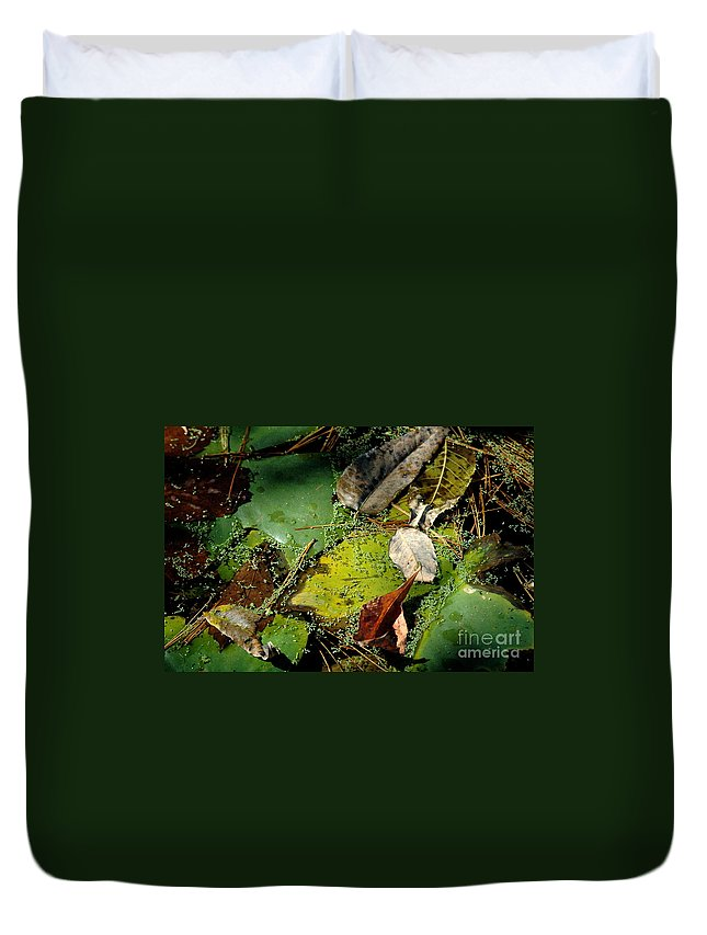 Pond Duvet Cover featuring the photograph Pond Lumens by Trish Hale