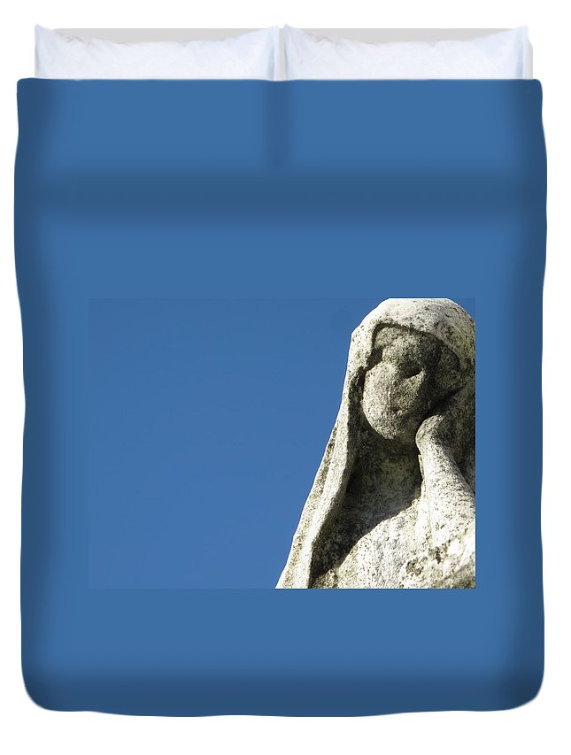Graveyard Duvet Cover featuring the photograph Pondering by Michele Nelson