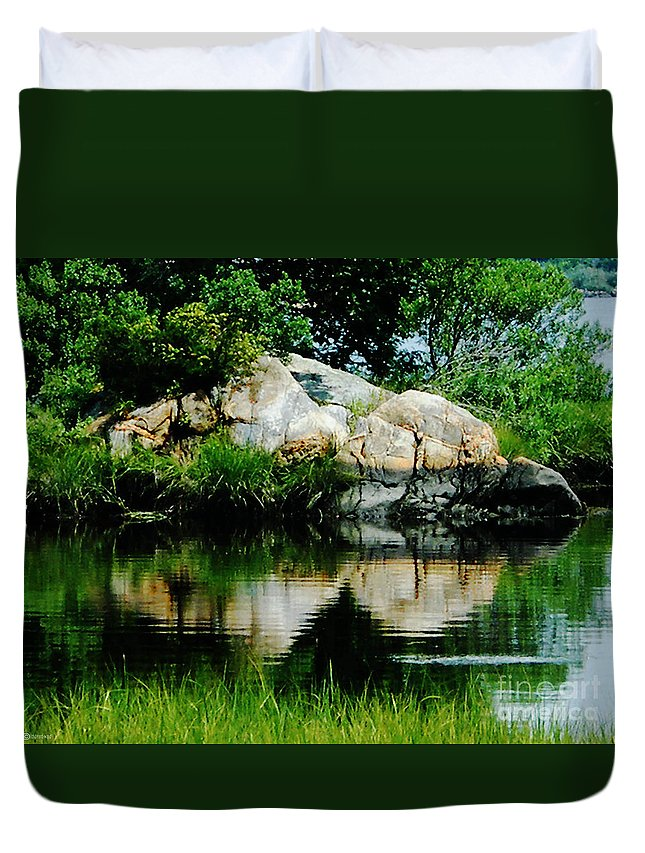 New England Duvet Cover featuring the photograph Pool In Marsh At Mystic Ct by Lizi Beard-Ward