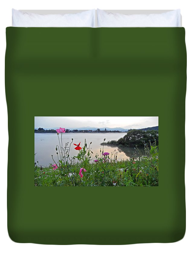 River Duvet Cover featuring the photograph Poppies By The River by Kume Bryant