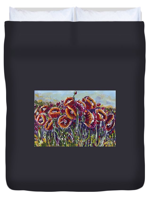 Poppies Duvet Cover featuring the painting Poppies In My Field by Dinah Anaya