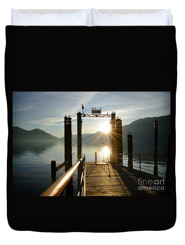 Port Duvet Cover featuring the photograph Port On In Sunset by Mats Silvan