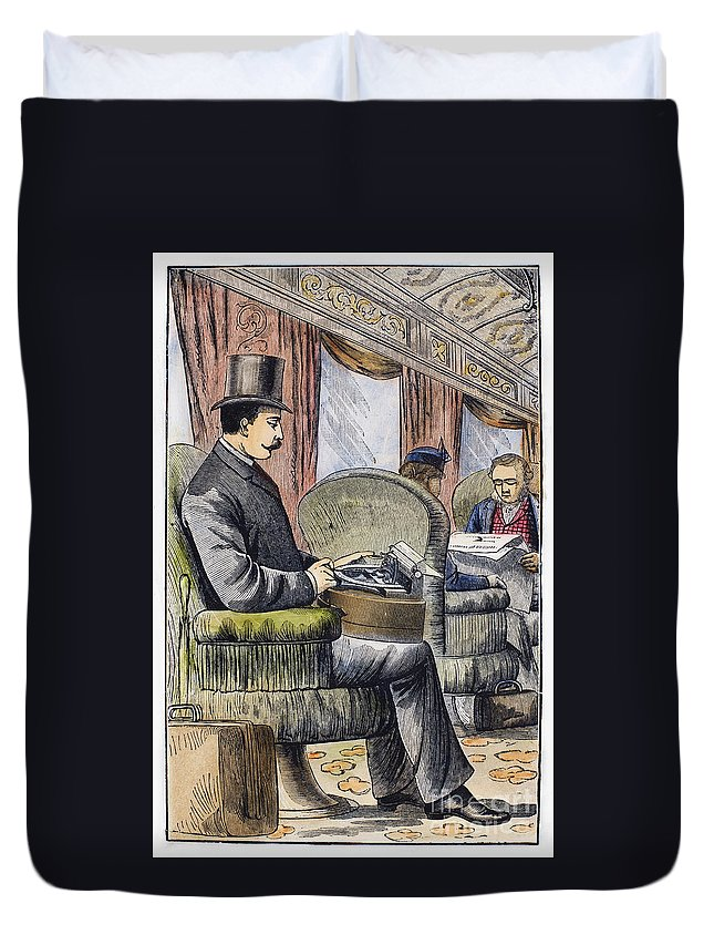 1889 Duvet Cover featuring the photograph Portable Typewriter, 1889 by Granger