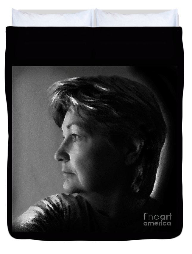 Duvet Cover featuring the digital art Self Portrait by Dale  Ford