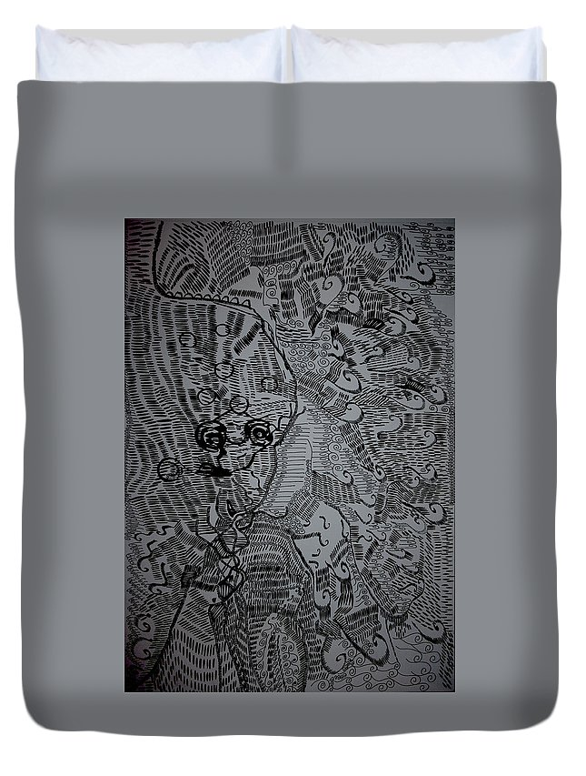 Jesus Duvet Cover featuring the drawing Poseidon by Gloria Ssali