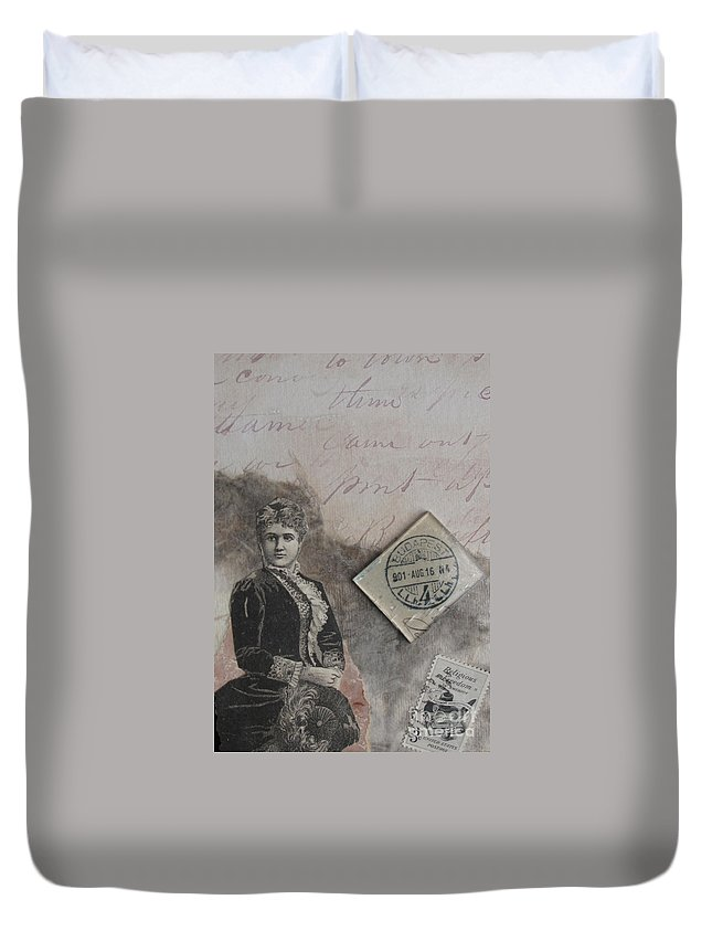 Collage Duvet Cover featuring the mixed media Postmark Budapest by Sandy McIntire