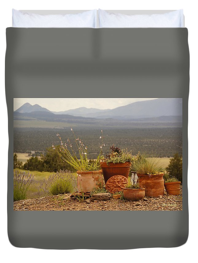 Pots Duvet Cover featuring the photograph Pots And Vista by Mick Anderson