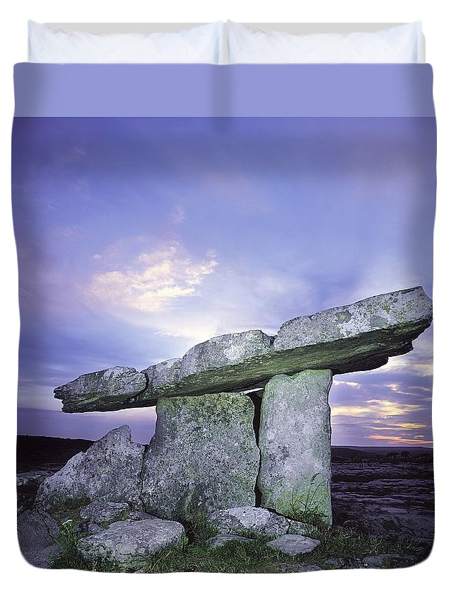 Archeology Duvet Cover featuring the photograph Poulnabrone Dolmen, The Burren, Co by The Irish Image Collection