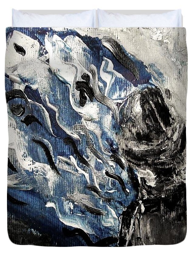 Power Duvet Cover featuring the painting Power Of Prayer With Hasid Reading And Hebrew Letters Rising In A Spiritual Swirl Up To Heaven by M Zimmerman