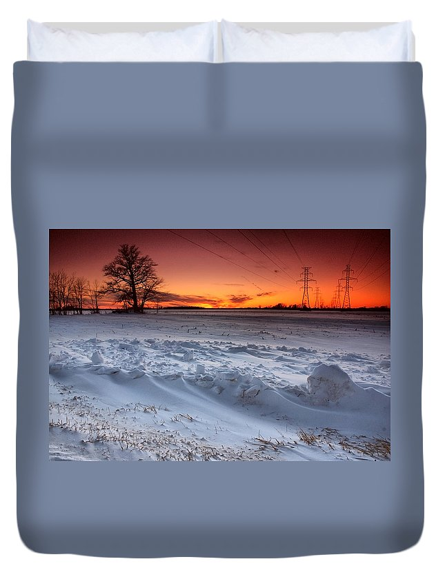 Winter Duvet Cover featuring the photograph Powerlines In Winter by Cale Best