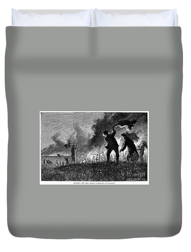 1874 Duvet Cover featuring the photograph Prairie Fire, 1874 by Granger