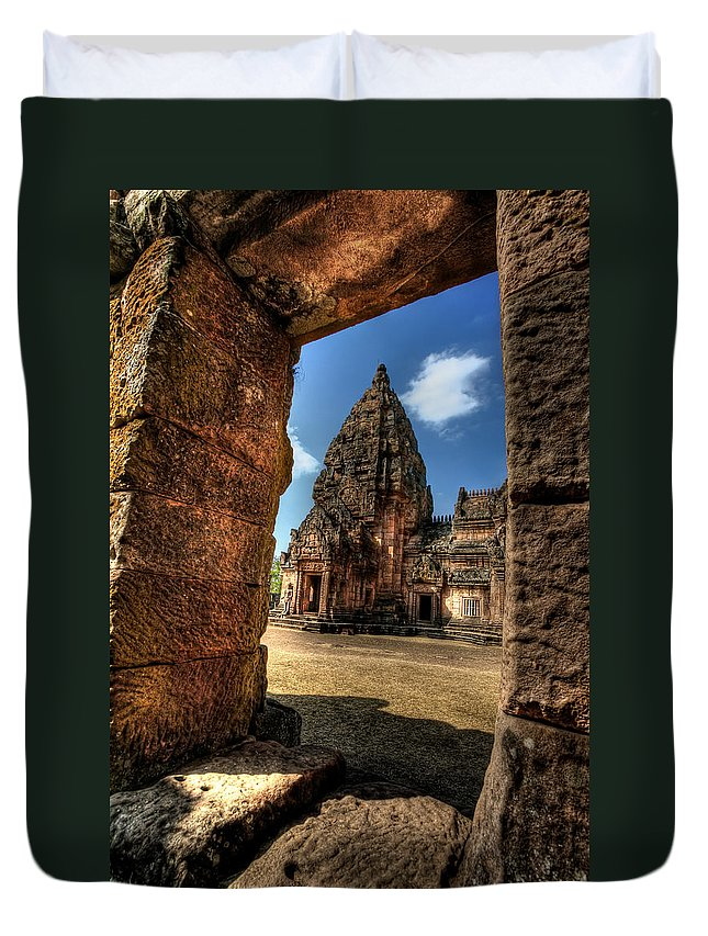 Hdr Duvet Cover featuring the photograph Prasat Phnom Rung by Adrian Evans