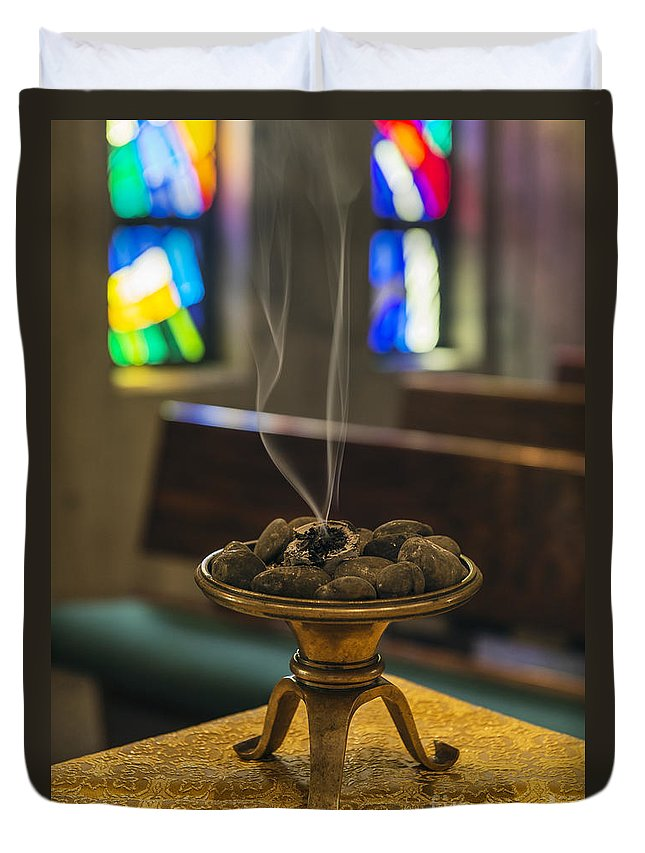 Meditation Duvet Cover featuring the photograph Prayers Rise Like Incense by John Greim