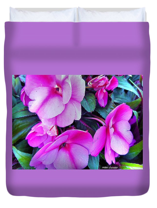 Floral Duvet Cover featuring the photograph Pretty Pink Flowers by Mikki Cucuzzo