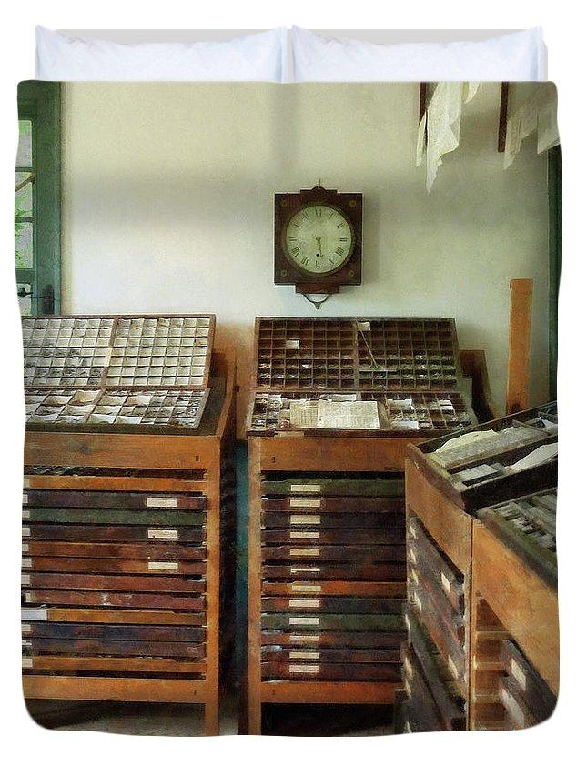 Printer Duvet Cover featuring the photograph Print Shop by Susan Savad