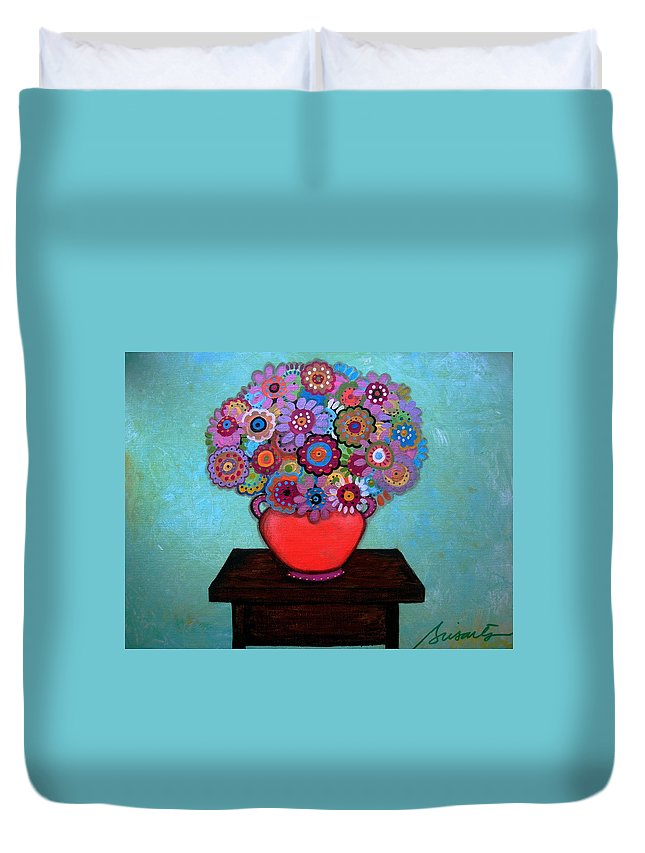 Flowers Duvet Cover featuring the painting Pristine Memories V by Pristine Cartera Turkus