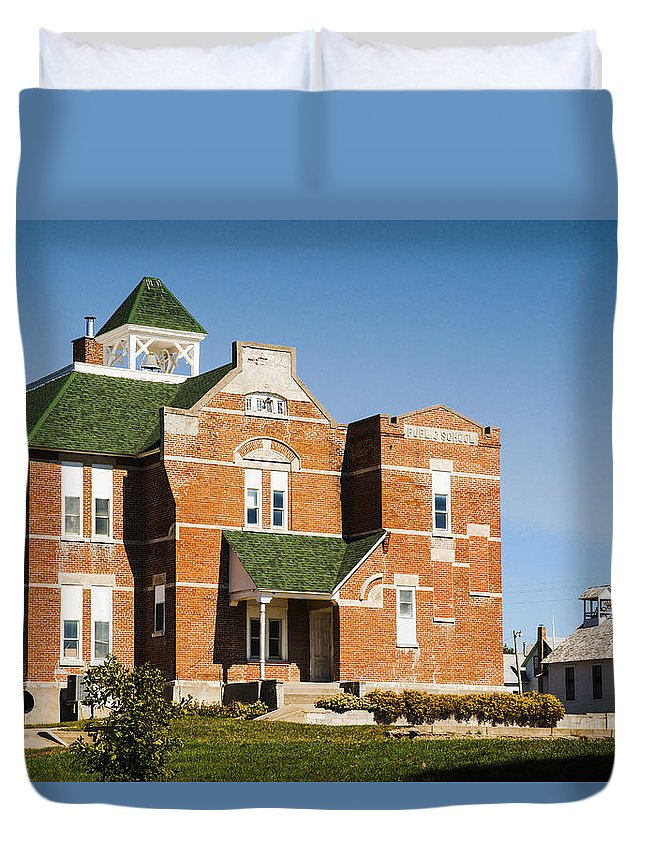 Rural School Duvet Cover featuring the photograph Progress by Edward Peterson