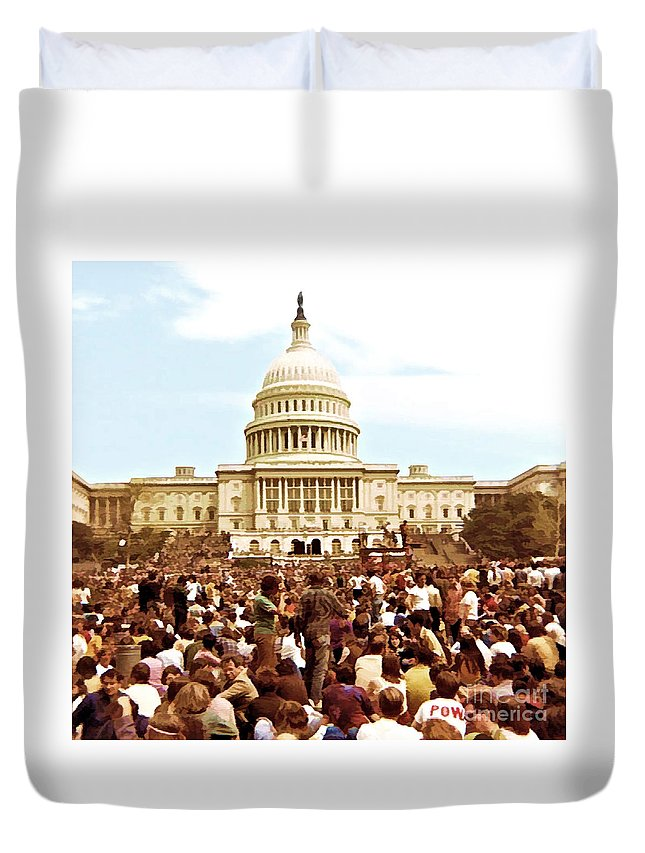 Washington Duvet Cover featuring the digital art Protest by Tommy Anderson