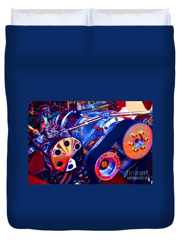 Supercharger Duvet Cover featuring the photograph Psychodelic Supercharger-1 by Paul W Faust - Impressions of Light
