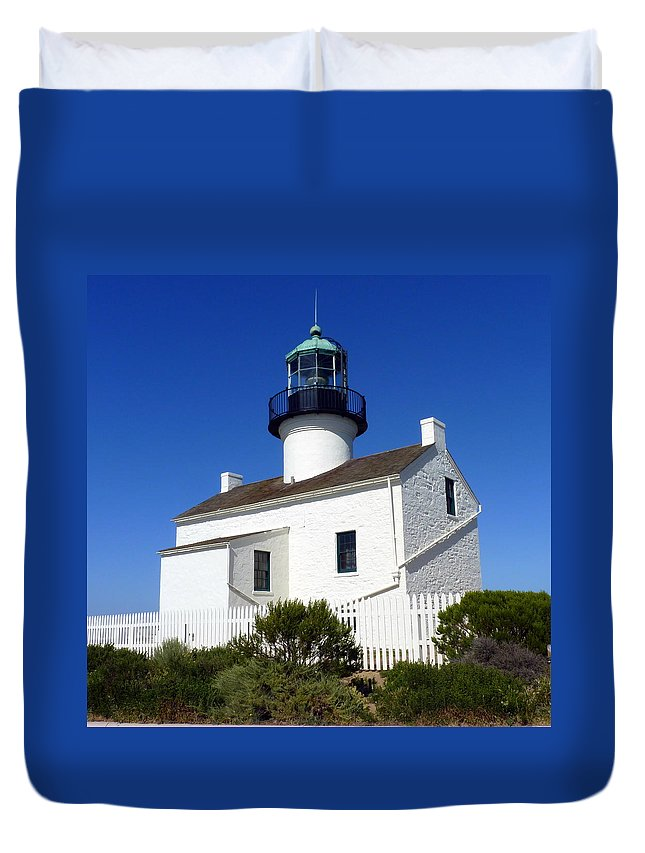 Light Duvet Cover featuring the photograph Pt. Loma Lighthouse by Carla Parris