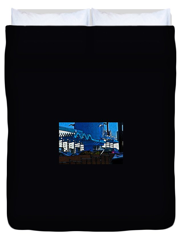 Abstract Duvet Cover featuring the photograph Pueblo Downtown Blue Abstract by Lenore Senior