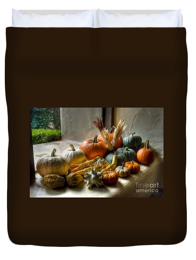 Pumpkins Duvet Cover featuring the photograph Pumpkins by Diego Re