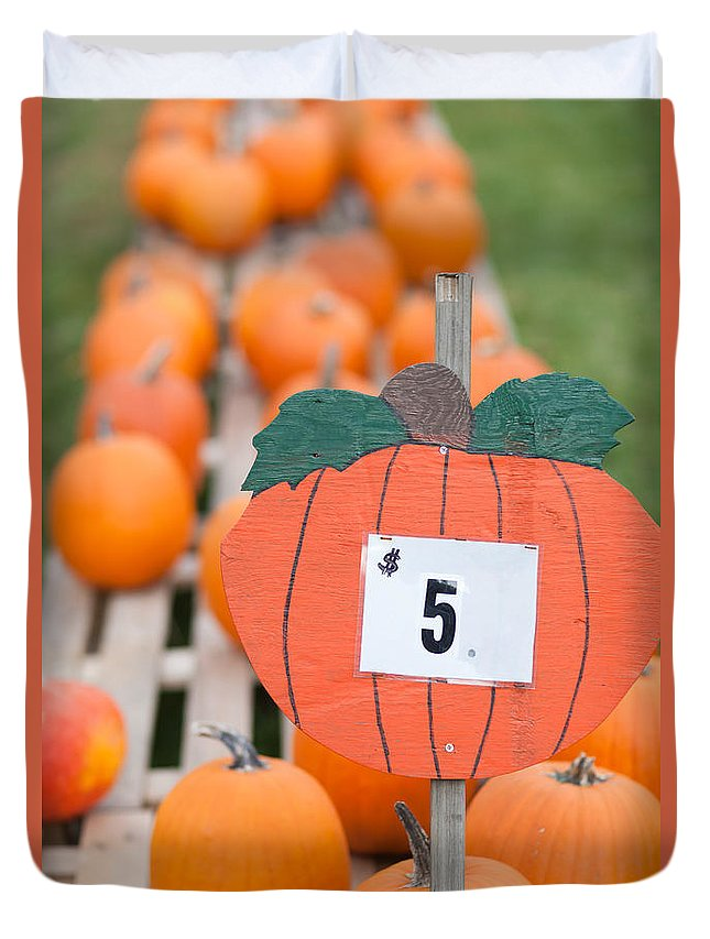 Clarence Holmes Duvet Cover featuring the photograph Pumpkins For Sale II by Clarence Holmes