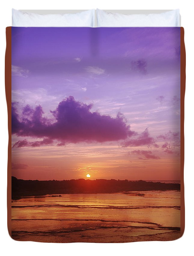 Beauty Duvet Cover featuring the photograph Purple And Orange Sunset by Vince Cavataio - Printscapes
