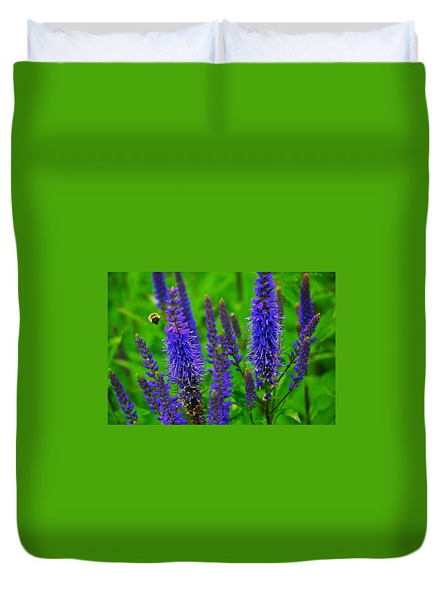 Flowers Duvet Cover featuring the photograph Purple Blue Yellow Green by Eric Tressler