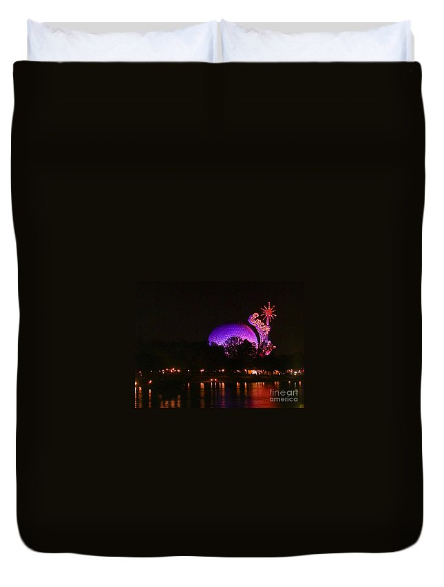 Epcot Duvet Cover featuring the photograph Purple Epcot by Tim Mulina