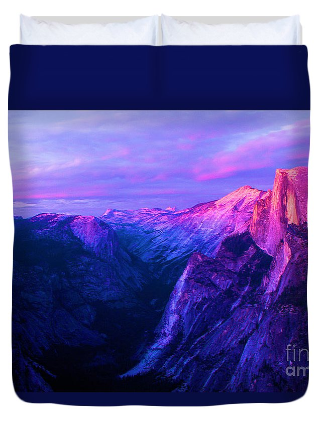 Half Dome Duvet Cover featuring the photograph Purple Half Dome by Adam Jewell