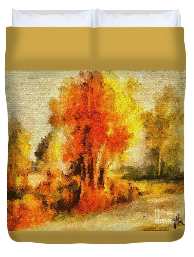 Tree Duvet Cover featuring the painting Purple Smoke Tree by Dragica Micki Fortuna