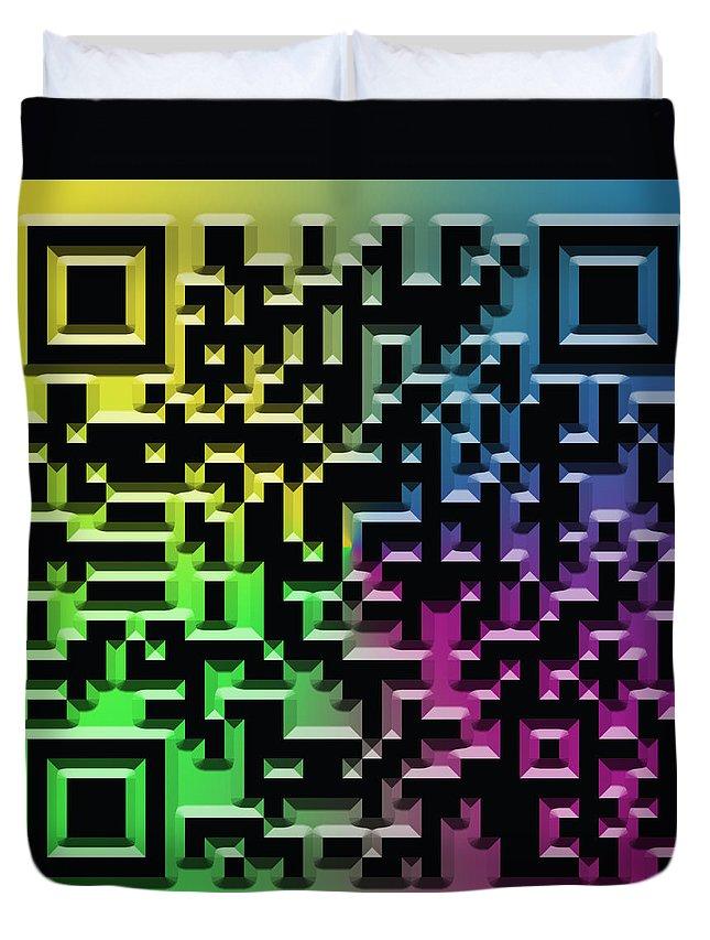 Abstract Duvet Cover featuring the digital art Qr Art by Ricky Barnard
