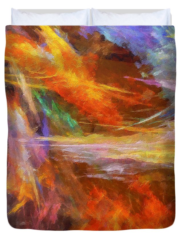 Abstract Duvet Cover featuring the digital art Quadra-01 by RochVanh