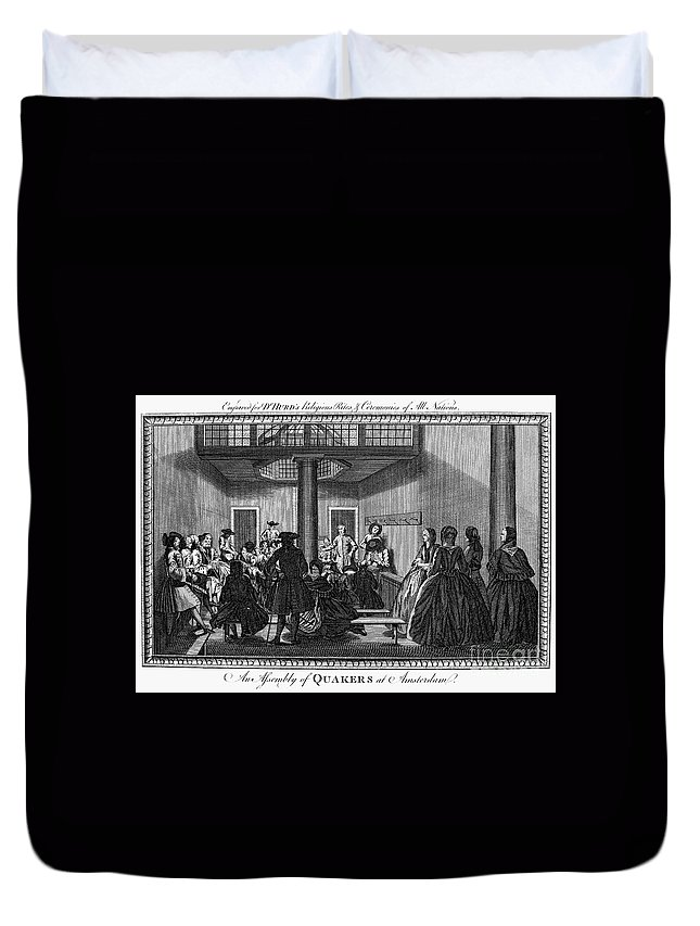1790 Duvet Cover featuring the photograph Quaker Meeting, C1790 by Granger