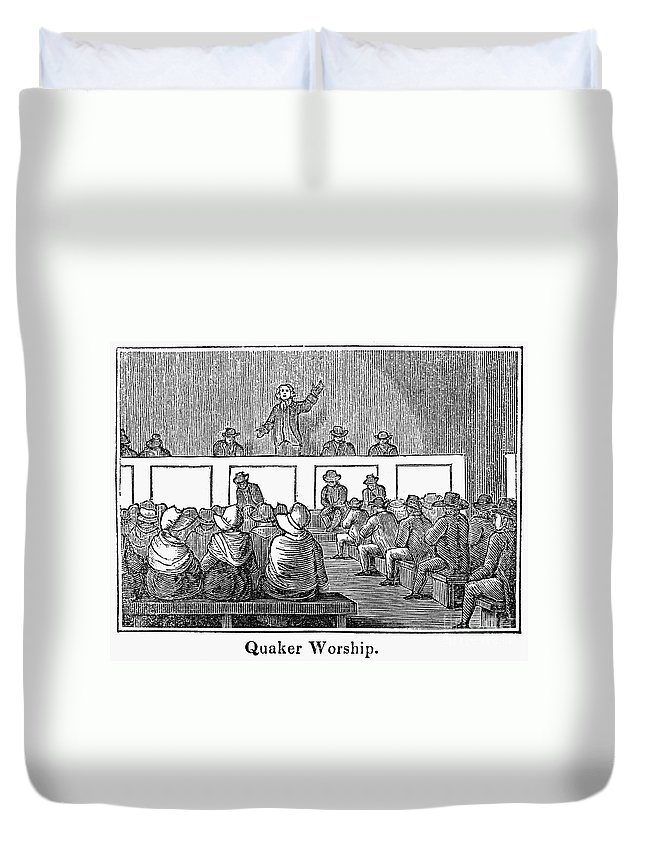 1842 Duvet Cover featuring the photograph Quaker Worship, 1842 by Granger